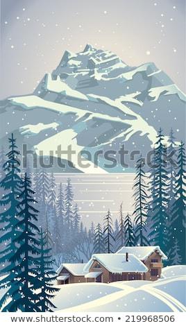 Invierno paisaje esquí tema montana montanas Foto stock © Kotenko