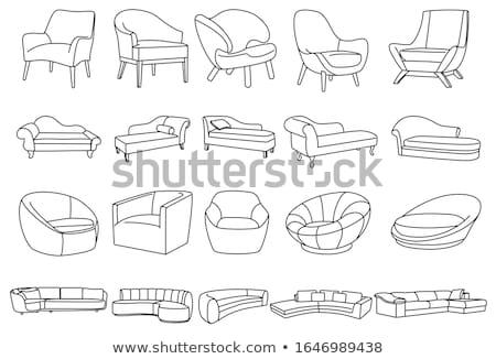 set of different soft armchairs linear sketch vector illustrat stock photo © arkadivna