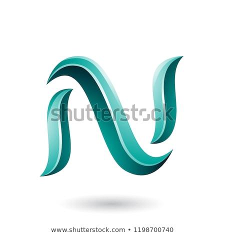 Zöld kígyó alakú n betű vektor illusztráció Stock fotó © cidepix