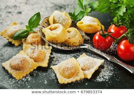 uncooked pasta with fresh tomatoes stock photo © dash