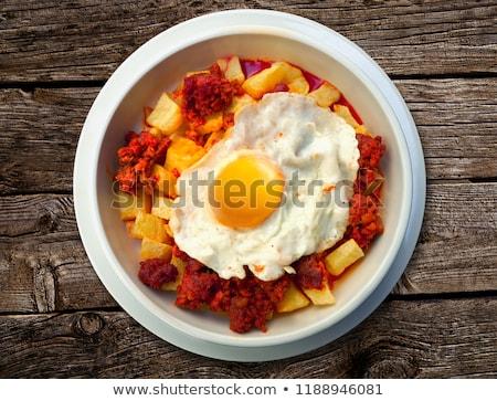 De pomme de terre oeuf recette pommes de terre chorizo saucisse Photo stock © lunamarina
