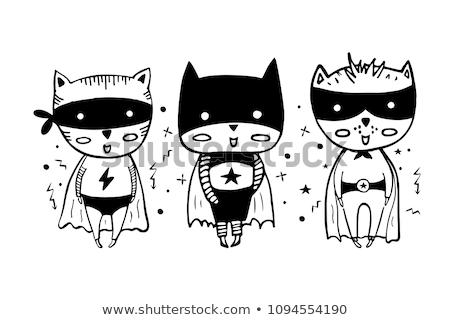 szuperhős · macska · boldog · rajz · jelmez · csillag - stock fotó © cthoman