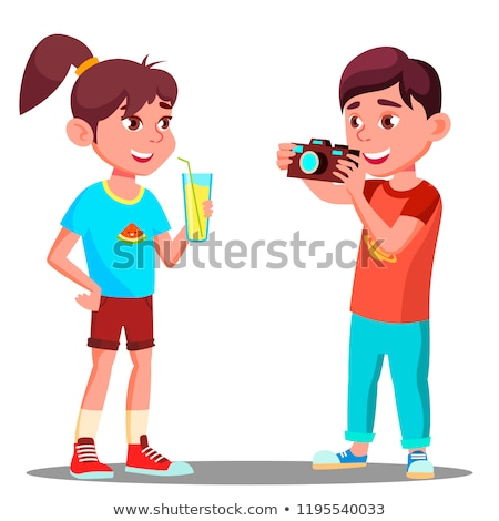 fotocamera · ragazzi · illustrazione · telecamere · ragazza - foto d'archivio © pikepicture