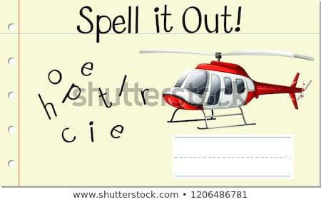 Zaklęcie angielski słowo śmigłowca ilustracja szkoły Zdjęcia stock © bluering