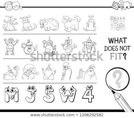 mismatched picture in a row game coloring book stock photo © izakowski