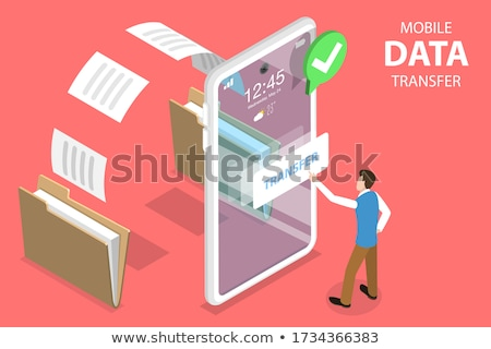 Data sharing service isometric flat vector concept. Stock photo © TarikVision