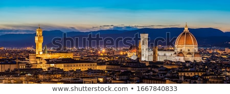 Stok fotoğraf: Florence Cityscape And Landmarks Panoramic Evening View