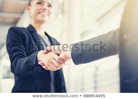üzletasszonyok készít üzlet megbeszélés iroda kéz Stock fotó © boggy