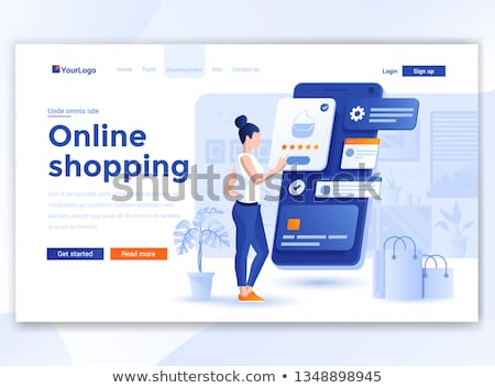 Online payment - modern line design style web banner Stock photo © Decorwithme