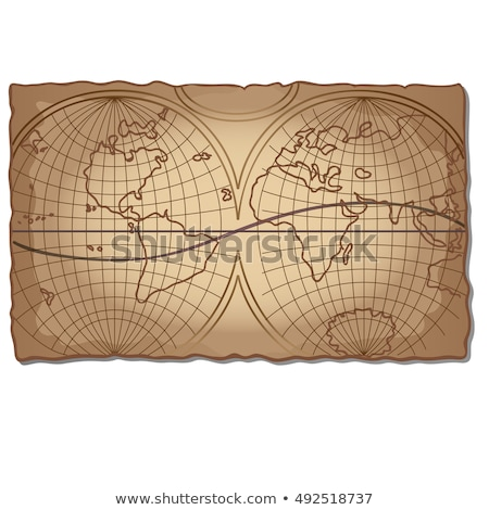 Vintage world map on the piece of faded old paper with torn edges. Vector illustration. Stock photo © Lady-Luck