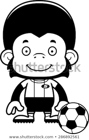 Cartoon souriant footballeur chimpanzé football heureux Photo stock © cthoman