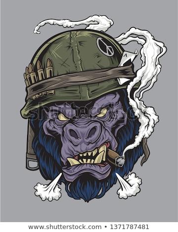 Cartoon arrabbiato soldato gorilla guardando Foto d'archivio © cthoman
