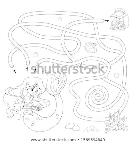 Stock fotó: Hableány · játék · vízalatti · oktatás · óceán · kocka