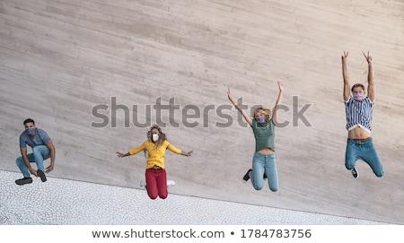 boldog · tini · ugrik · remek · nő · ugrás - stock fotó © dolgachov