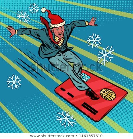 Christmas zakenman snelheid extreme sport Stockfoto © rogistok