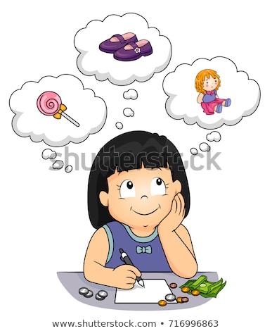 Criança menina coisas comprar dinheiro ilustração Foto stock © lenm