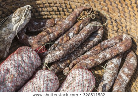 french dried sausages from auvergne stock photo © boggy