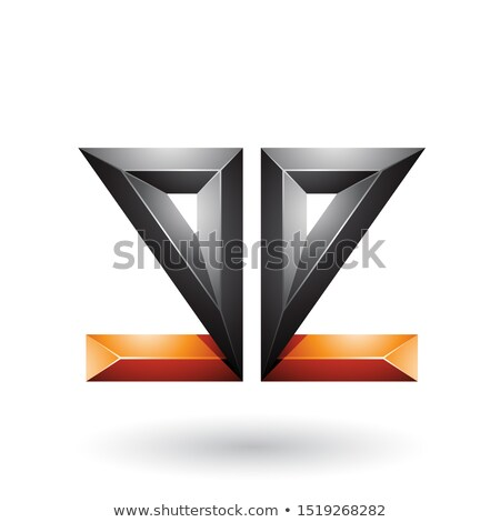 orange and black 3d geometrical double sided embossed letter e v stock photo © cidepix