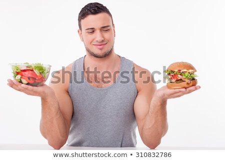 Nutritionist With Fruits And Hamburgers In Hands, Healthy And Unhealthy Food Vector. Isolated Cartoo Stock photo © pikepicture