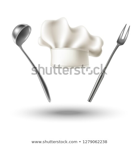 White chef hat with spoon and fork 3D Stock photo © djmilic