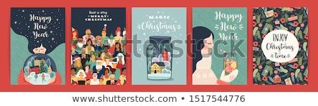 Vrolijk christmas vakantie winter ingesteld Stockfoto © robuart