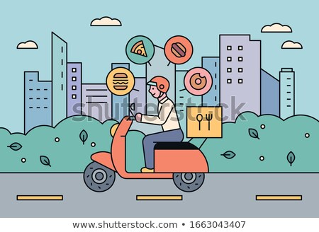 Food delivery - flat design style colorful illustration Stock photo © Decorwithme