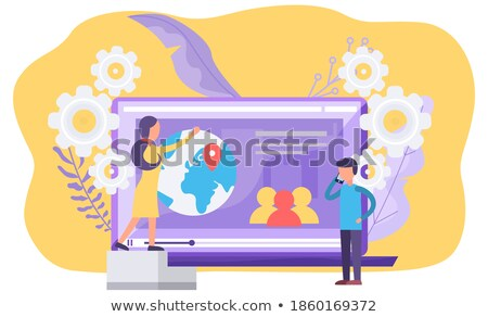 Man with Laptop, Interface of Video Player Vector Stock photo © robuart