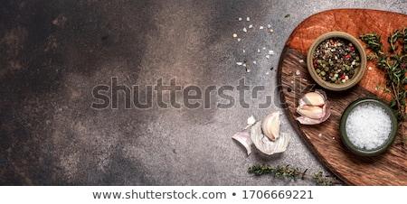 Kulinarny przyprawy nóż deska do krojenia górę widoku Zdjęcia stock © furmanphoto