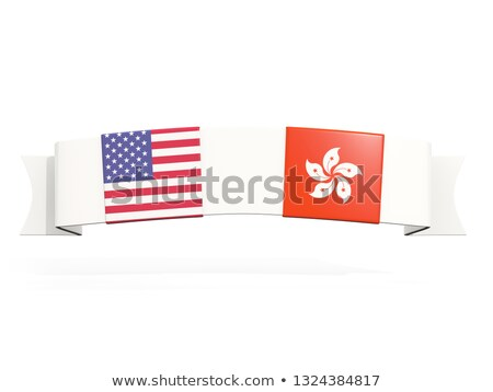 Banner with two square flags of United States and hong kong Stock photo © MikhailMishchenko