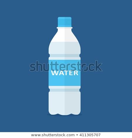 Foto stock: Botella · agua · simple · icono · aislado · blanco