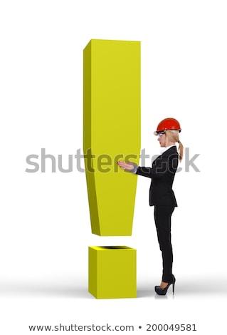 3D üzletasszony tart felkiáltójel illusztráció izolált Stock fotó © 3dmask