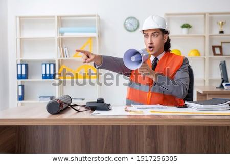Fiatal építész kiabál megafon pezsgő üzlet Stock fotó © ra2studio