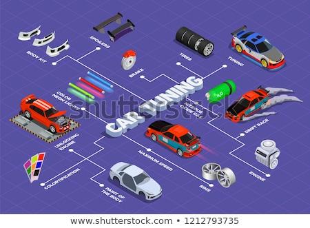 Carro afinação automático chave inglesa caixa de ferramentas veículo Foto stock © RAStudio