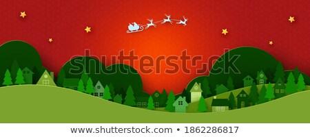 陽気な · クリスマス · 紙 · カット · 雪だるま · 松 - ストックフォト © robuart