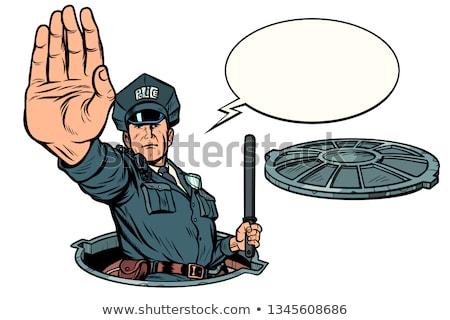Police stop gesture, dangerous manhole. Road works isolate on white background Stock photo © studiostoks