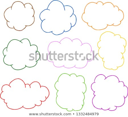 Colorful Rough sketch of a cute cloud type frame set Stock photo © Blue_daemon