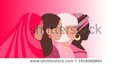 Feliz día de la mujer diverso cultura mujeres cabeza Foto stock © cienpies