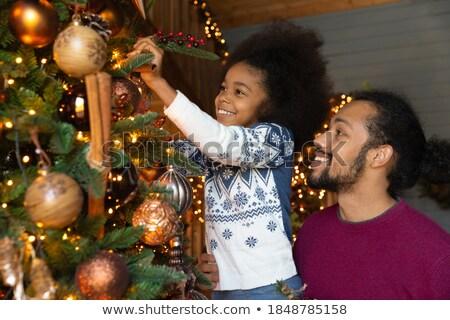 Vorbereitung Weihnachten Vater tragen Kiefer immergrün Stock foto © robuart