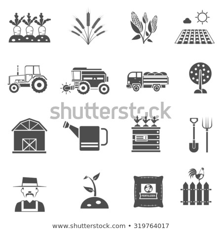 Farming Man Cultivating Field Vector Illustration Foto stock © robuart