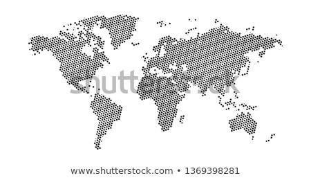 ストックフォト: 黒 · ハーフトーン · 星 · 点在 · 世界地図 · 地図