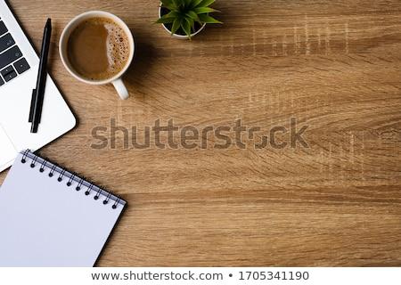 mesa · ordenador · flores · taza · de · café - foto stock © neirfy
