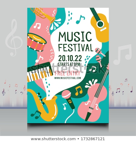 music festival flyer template with speaker and light effect Stock photo © SArts
