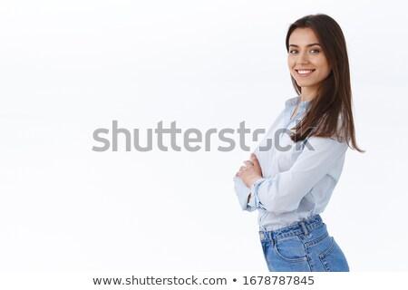 Determinado inteligentes mujer de negocios pie oficina mirando Foto stock © nyul