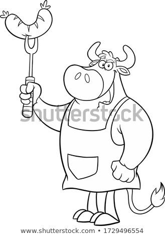 бык барбекю колбаса рисунок цвета Сток-фото © patrimonio