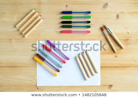 Widoku puste papieru kilka kredki długopisy dwa Zdjęcia stock © pressmaster