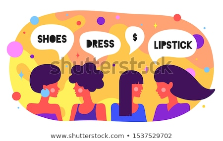 Modern flat character. Friends women say. Simple character Stock photo © FoxysGraphic