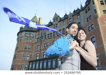 Paar schieten stad Quebec hemel liefde Stockfoto © Lopolo