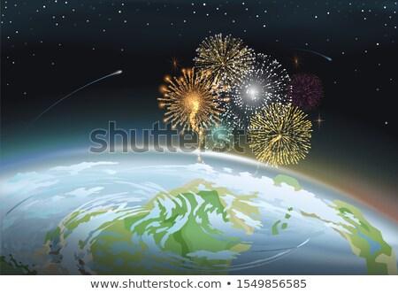 Fuegos artificiales cielo de la noche planeta tierra vector celebración Foto stock © robuart