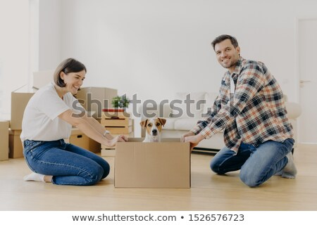 Positive millennial couple play with favourite pet, have fun during moving in new apartment, stand o Stock photo © vkstudio