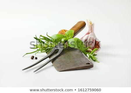 Velho garfo alho ervas carne fresco Foto stock © Digifoodstock